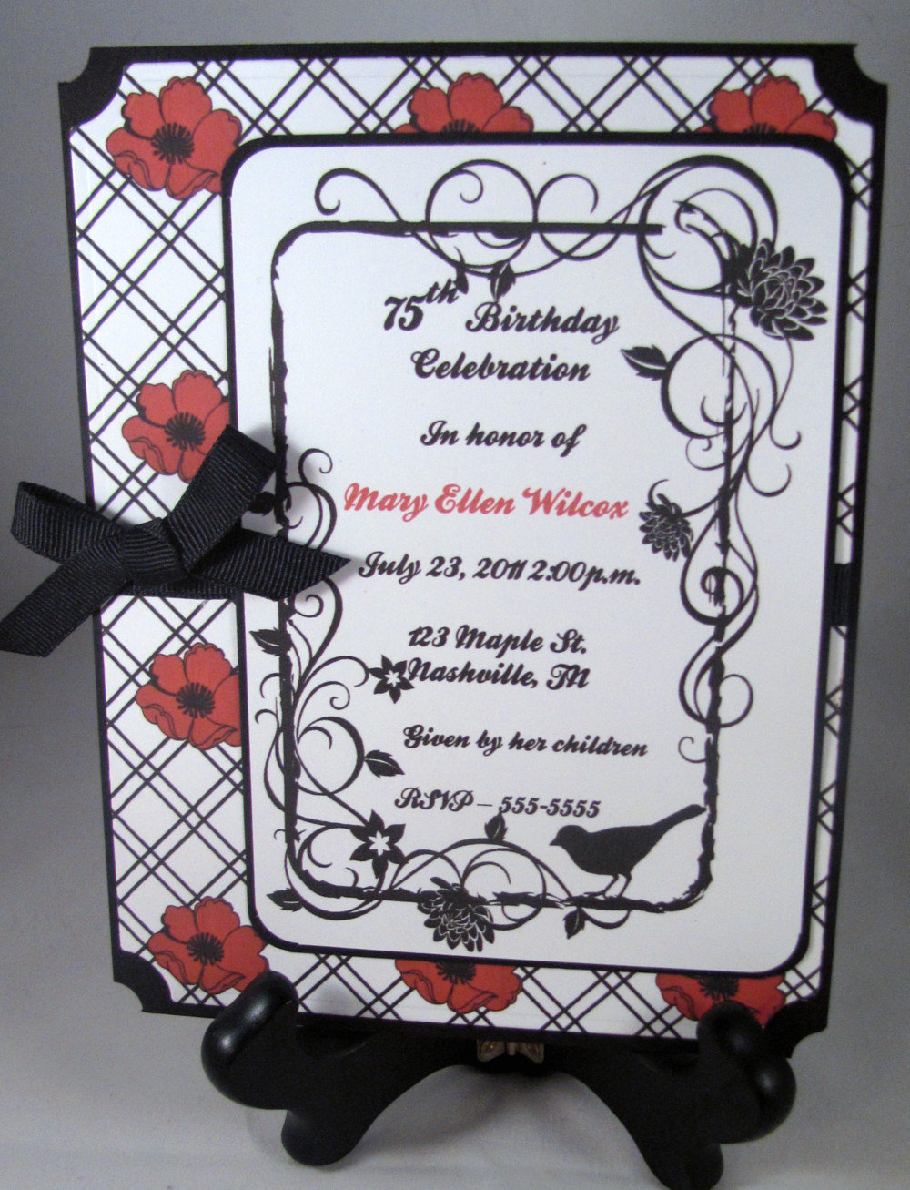 Classic Red & Black Poppy Invitation