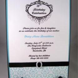 Chandeliers, Velvet, Pearls & Tiffany Blue Invitation