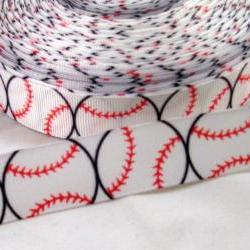 "Baseball 7/8"" Grosgrain Ribbon 3 Yards"