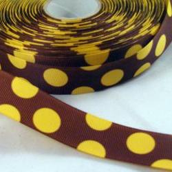 "3 Yards of 1"" Grosgrain Ribbon in brown with yellow dots"