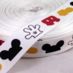 "3 Yards 7/8"" Mickey Mouse Parts Grosgrain Ribbon"